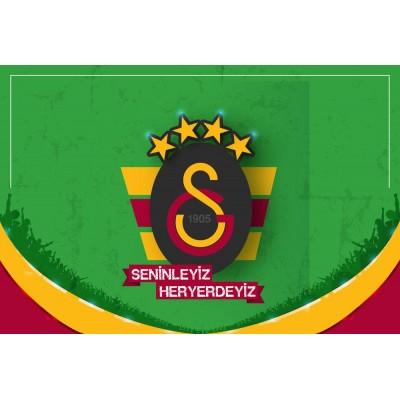 Sarı Kırmızı Siyah Galatasaray Logosu Seninleyiz Heryerdeyiz Duvar Kağıdı